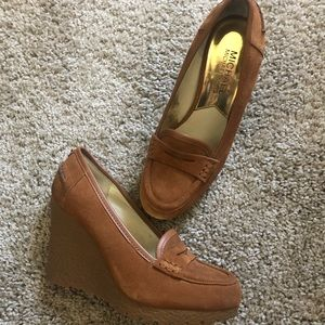 Michael Kors suede leather rubber wedge